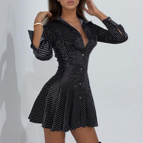 Deep V-Neck Sexy Irregular Hip Dress
