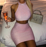 Solid Color Sexy Sleeveless Backless Hips Two-Piece Suit
