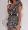 Women'S Short-Sleeved Floral V-Neck Dress