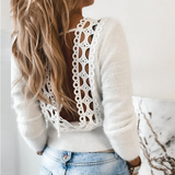 Pure Color Sexy Lace Backless Round Neck Sweater