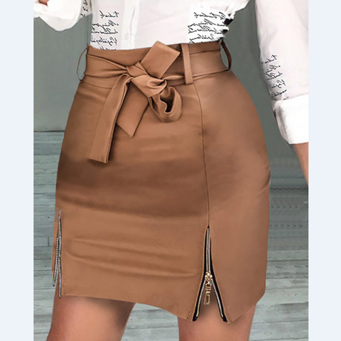 Fashion Solid Color Package Hip Skirts