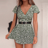 Sexy V-Neck Print Short Sleeve Dress