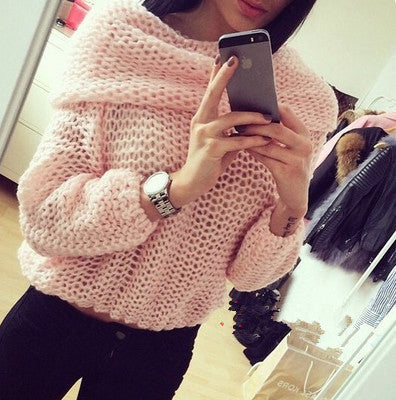 Solid color Round neck long-sleeved zipper sweater