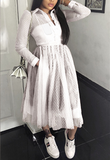 Women Solid Color Gauze Long-Sleeved Dress