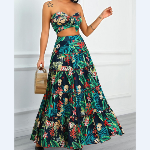 Sexy Embroidered Two-Piece Dress