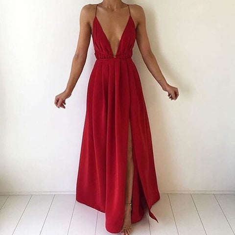 SEXY SLEEVELESS CHIFFON HALTER DRESS
