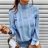 Long Sleeve Fashion Round Neck Button Shirt Top