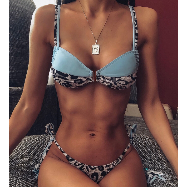 Women Splicing Leopard Print Bikini Swimsuit