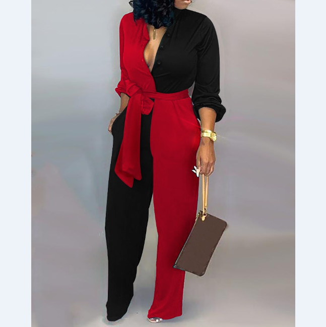 V-Neck Long Sleeve Jumpsuit