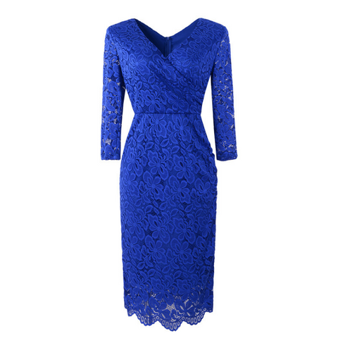 Elegant Round Neck Long-Sleeved Lace Dress