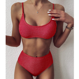 Solid Color High Waist Bikini Split Swimsuit Set