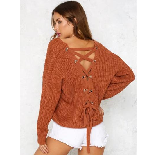 Backless Knitting Pullover Lace-up Oversized Sweater