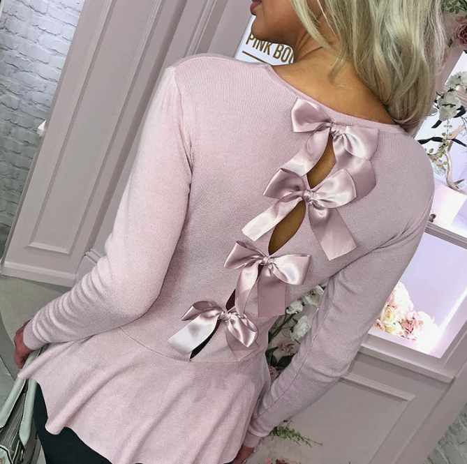 Sexy Fashion Backless Bowknot Long Sleeve Shirt