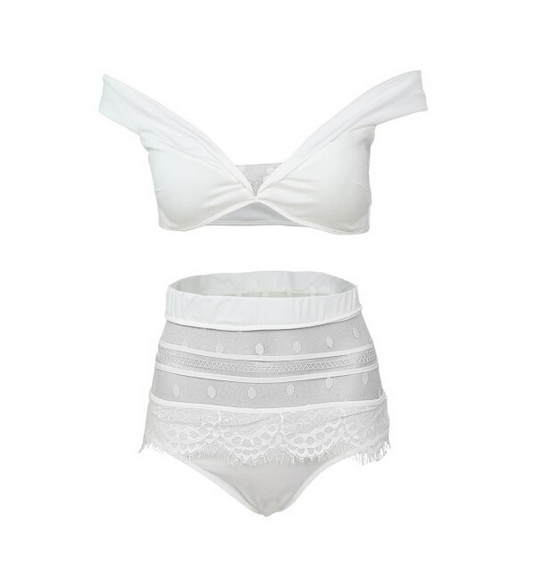 Sexy net yarn white bikini swimsuit split