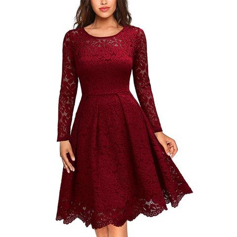 Fashion Lace Stitching Chiffon Dress