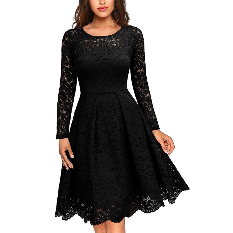 Round Neck Lace High Waist Princess Dress