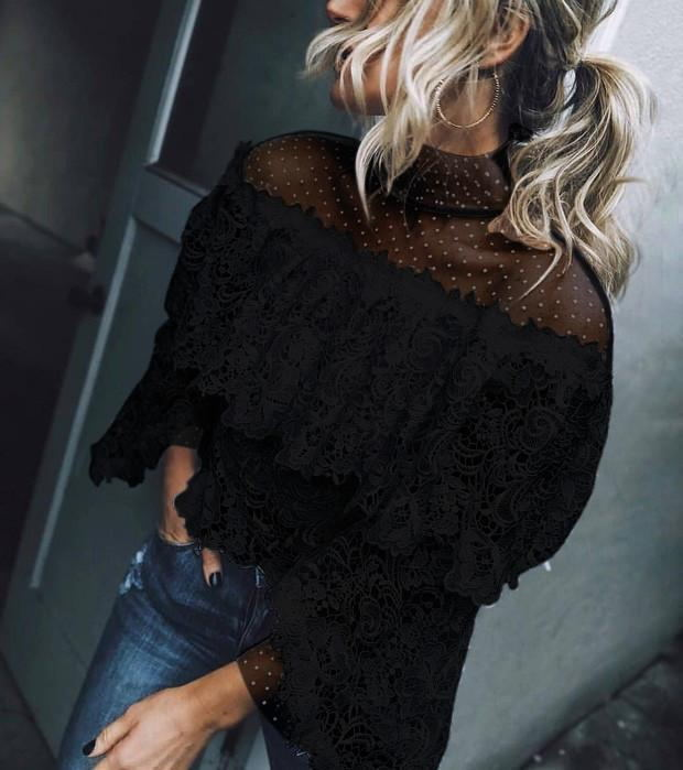 High-Necked Irregular Lace Shirt