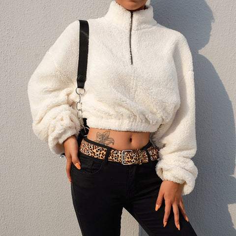 Casual long-sleeved round neck bat sleeve sweater