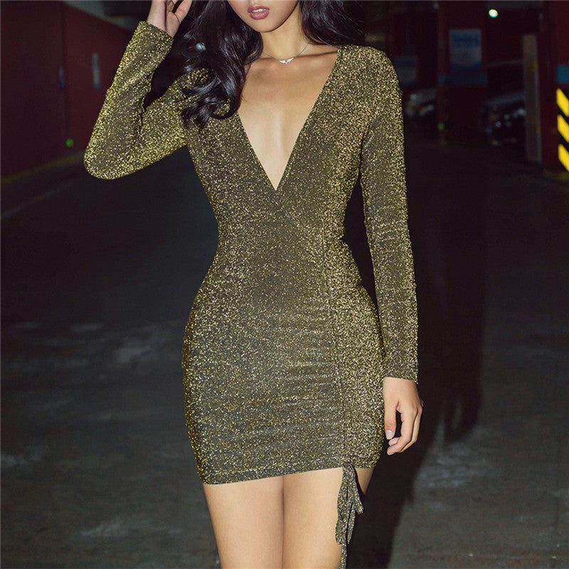 Sexy Women'S Long-Sleeved V-Neck Bag Hip Dress