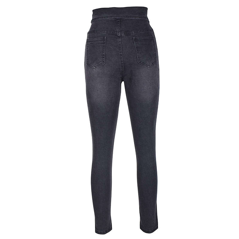 Elastic Button High Waist Denim Pants