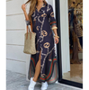 Fashion Sexy Chain Long Sleeve Printed Dress