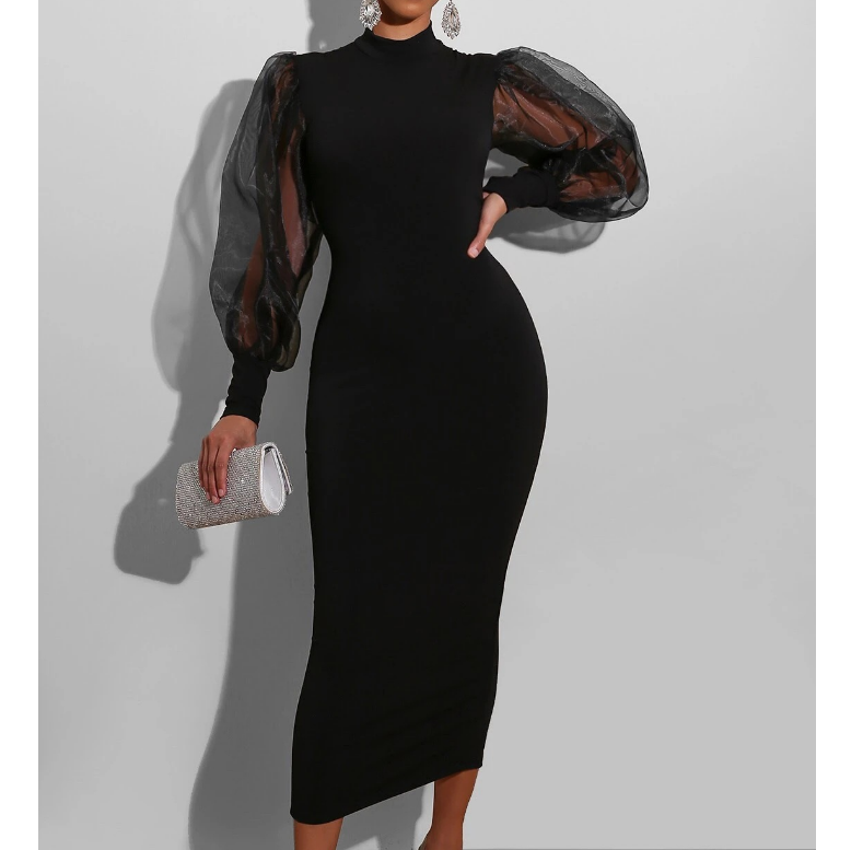 Women'S Mesh Splicing Solid Color Long Sleeve Dress