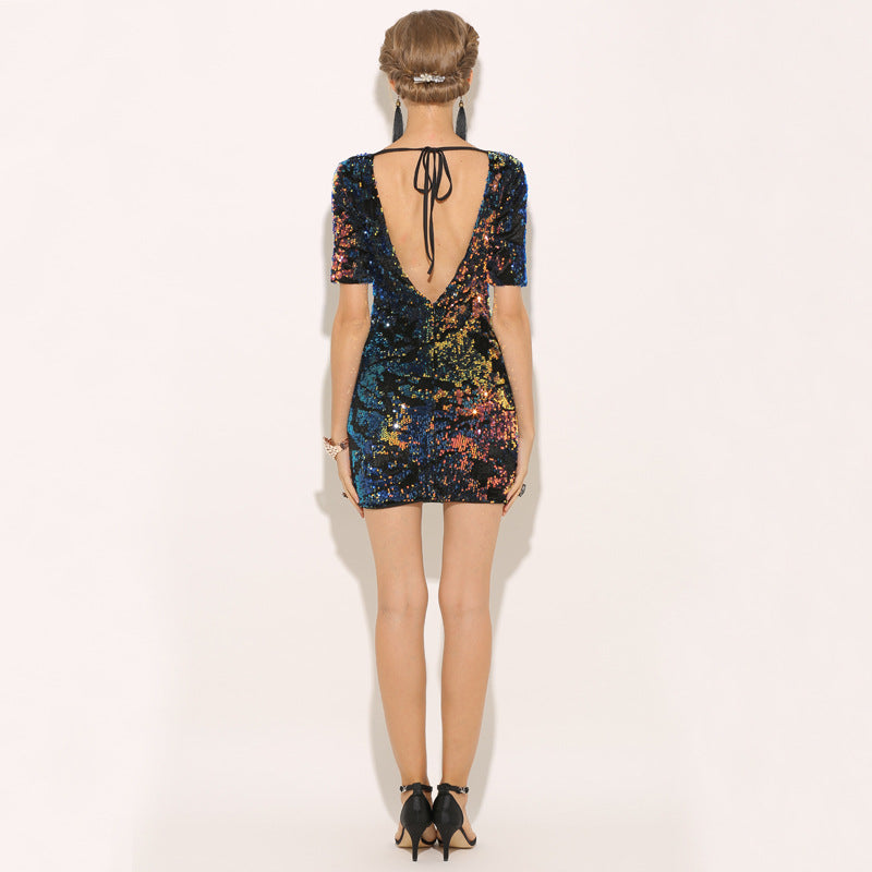 Casual Sequined Short Sleeve Deep V Open Backpack Hip Dress