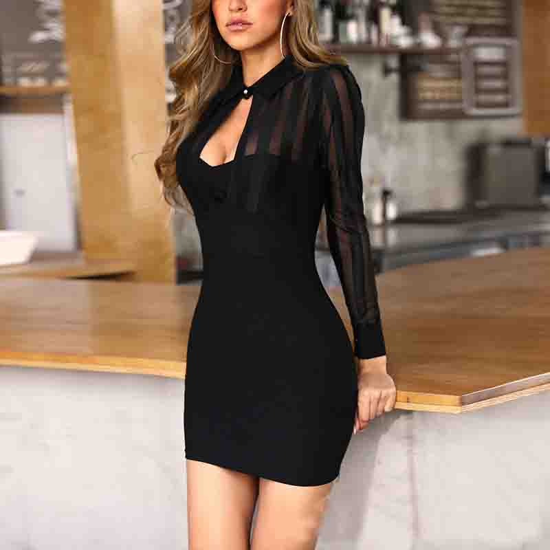 V-Neck Sexy Women'S Long Sleeve Dress
