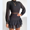 Women'S Sexy Zipper Long Sleeve High Waist Dress