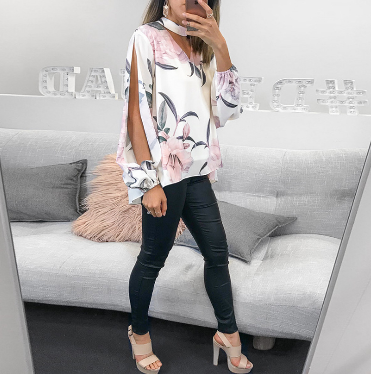 Fashion Printed Long Sleeve Button V-Neck Shirt
