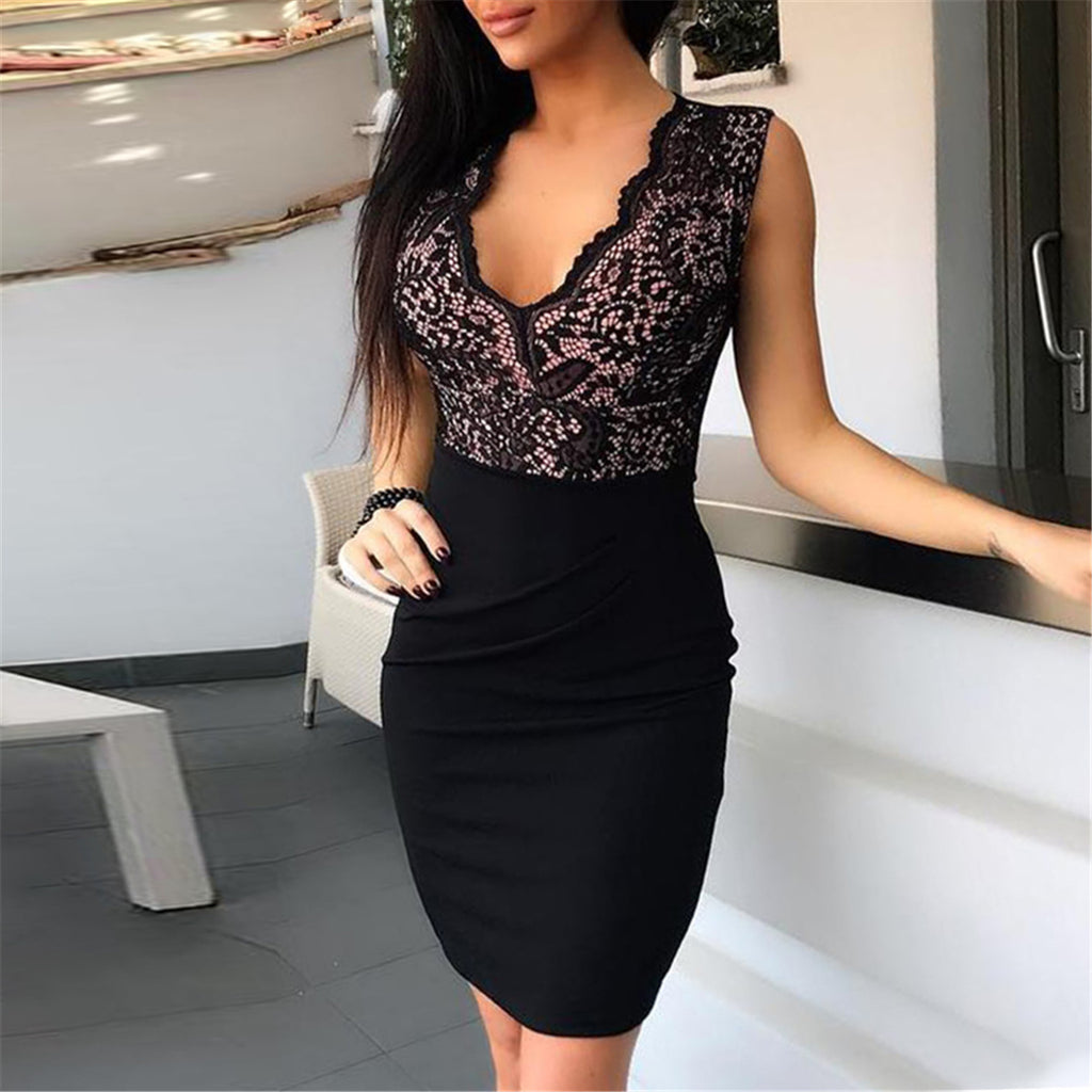 Solid Color Women'S V-Neck Lace Bag Hip Dress