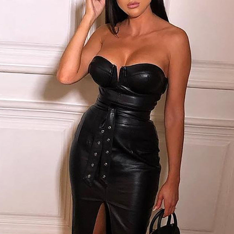 Sexy Solid Color Tight-Fitting Split Dress
