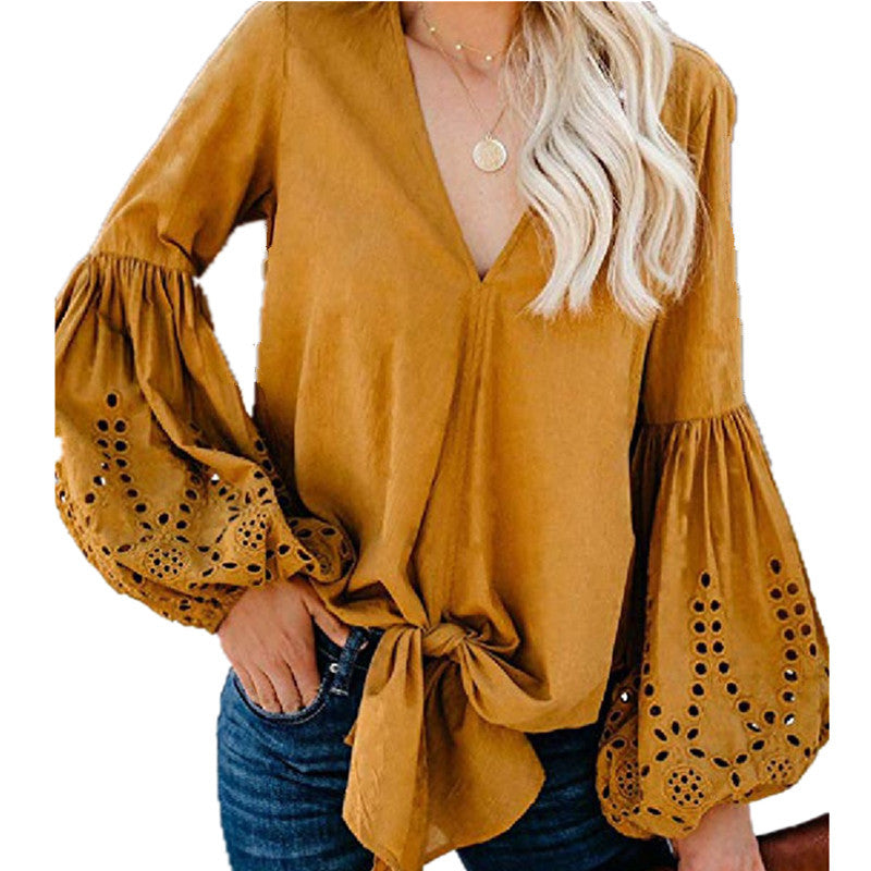 V-Neck Loose Lace Top