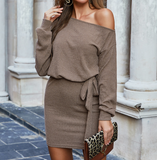 Long-Sleeved Off-Shoulder Bag Hip One-Shoulder Women'S Dress