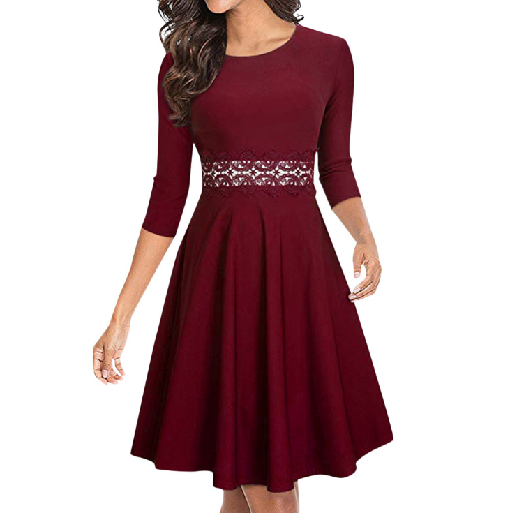 Design Round Neck Women'S Lace Dress