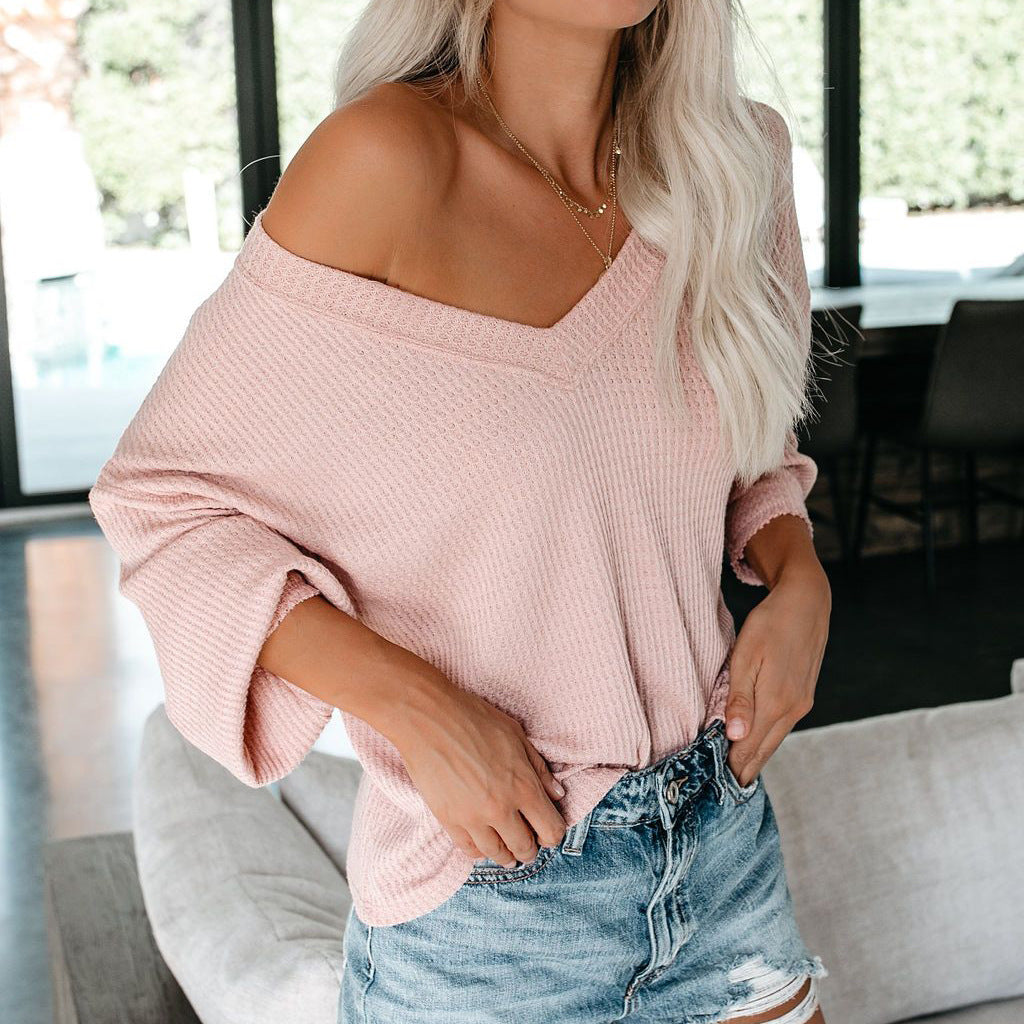V-Neck Casual Solid Color Long-Sleeved Sweater