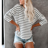Round Neck Striped Long-Sleeved T-Shirt Top