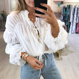 Women's Sexy Chiffon Long Sleeve Top
