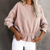 Casual Round Neck Long Sleeve Top