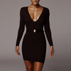 Long Sleeves Deep V Sexy Slim Bag Hip Dress