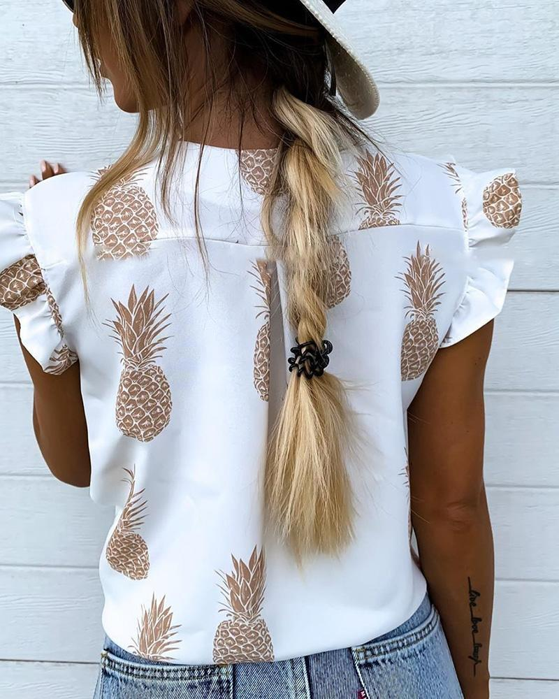 Printed V-Neck Casual Sleeveless Ruffled Shirt
