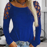 Solid Color Hot Drill Long Sleeve T-Shirt Top