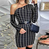 Slim Women One Shoulder Check Dress