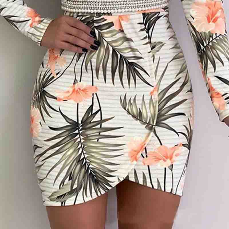 Deep V-Neck Printing Package Hip Dress