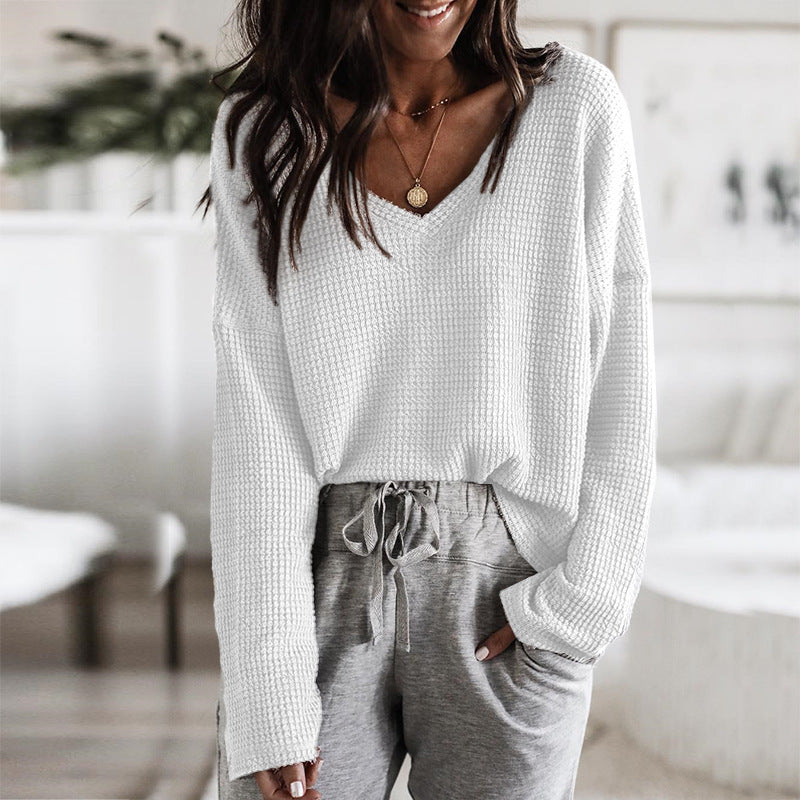 Loose V-Neck Knit Long Sleeve Sweater