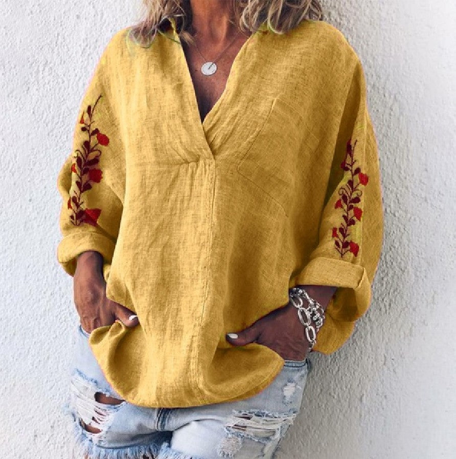 Loose Long Sleeve V-Neck Shirt