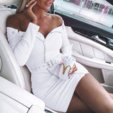 Sweet Long-Sleeved Off-The-Shoulder Strapless Zipper Dress