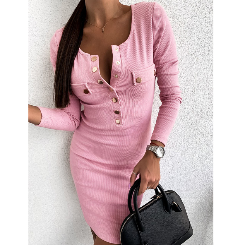 Solid Color Sexy Round Neck Slim Long Sleeve Dress