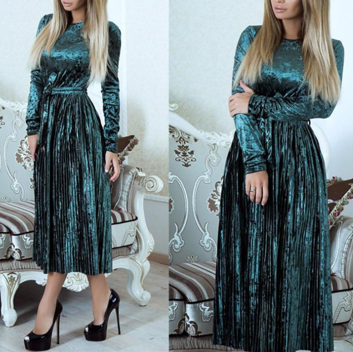 Women'S Solid Color Round Neck Long Sleeve Dress