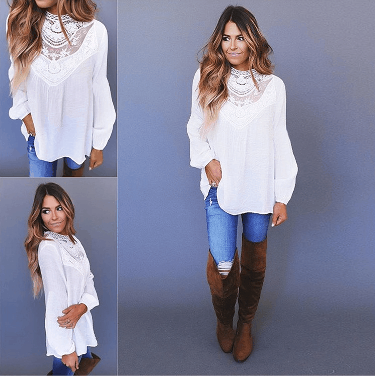 Fashion Lace Round Neck Long Sleeve Top